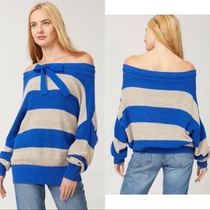 Free People • NWT Off Shoulder Striped Sweater